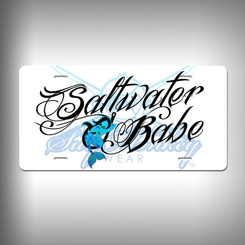 Saltwater Babe Custom License Plate / Vanity Plate with Custom Text and Graphics Aluminum - SurfmonkeyGear