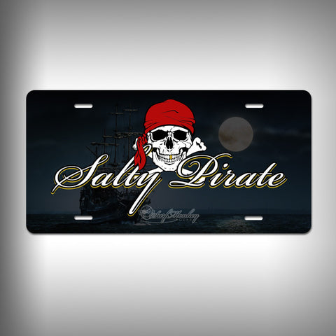 Salty Pirate Custom License Plate / Vanity Plate with Custom Text and Graphics Aluminum - SurfmonkeyGear