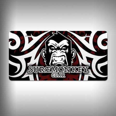 Angry Gorilla / Monkey Custom License Plate / Vanity Plate with Custom Text and Graphics Aluminum - SurfmonkeyGear