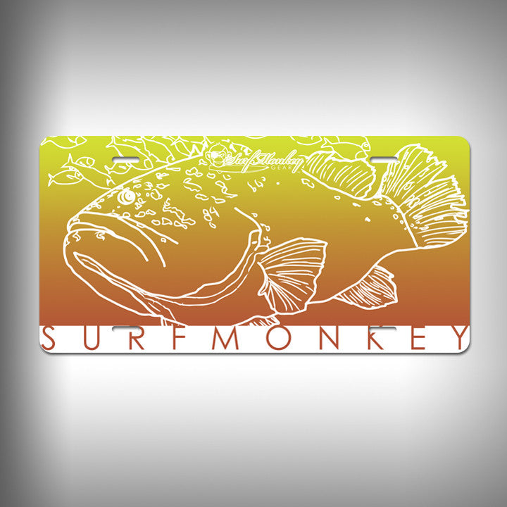 Grouper Custom License Plate / Vanity Plate with Custom Text and Graphics Aluminum - SurfmonkeyGear