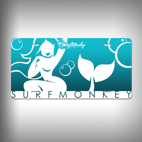 Mermaid Custom License Plate / Vanity Plate with Custom Text and Graphics Aluminum - SurfmonkeyGear