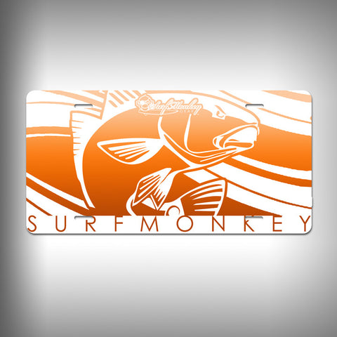 Red Fish Custom License Plate / Vanity Plate with Custom Text and Graphics Aluminum - SurfmonkeyGear