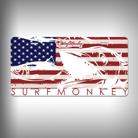 America Kingfish Custom License Plate / Vanity Plate with Custom Text and Graphics Aluminum - SurfmonkeyGear
