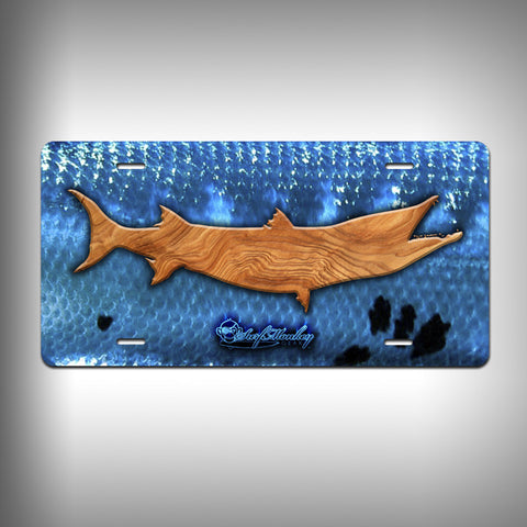 Barracuda Trophy License Plate / Vanity Plate with Custom Text and Graphics Aluminum - SurfmonkeyGear