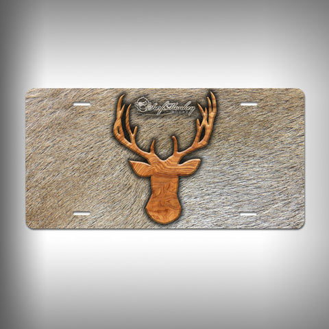 Buck Trophy License Plate / Vanity Plate with Custom Text and Graphics Aluminum - SurfmonkeyGear