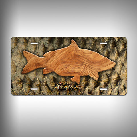 Carp Trophy License Plate / Vanity Plate with Custom Text and Graphics Aluminum - SurfmonkeyGear