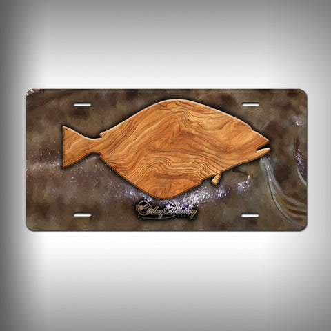Halibut Trophy License Plate / Vanity Plate with Custom Text and Graphics Aluminum - SurfmonkeyGear