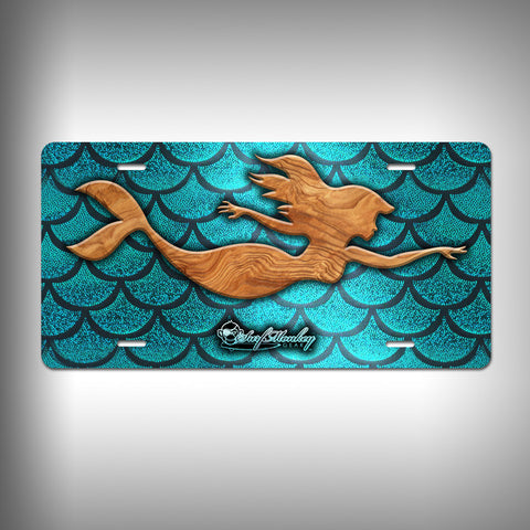 Mermaid Trophy License Plate / Vanity Plate with Custom Text and Graphics Aluminum - SurfmonkeyGear