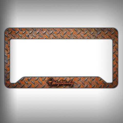 Rust Diamond Plate Custom Licence Plate Frame Holder Personalized Car Accessories - SurfmonkeyGear