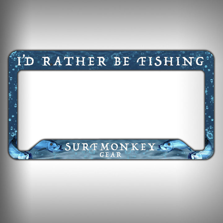 rather be fishing custom licence plate frame holder personalized car accessories surfmonkeygear - Mermaid License Plate Frame