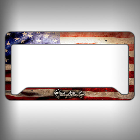 american flag custom licence plate frame holder personalized car accessories surfmonkeygear