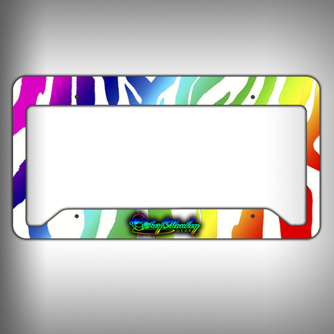Rainbow Zebra Custom Licence Plate Frame Holder Personalized Car Accessories - SurfmonkeyGear