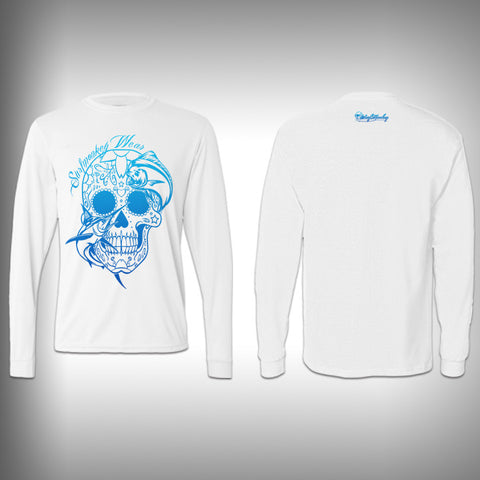 Blue - Sugar Skull Mahi - Performance Shirt - Fishing Shirt - SurfmonkeyGear  - 1