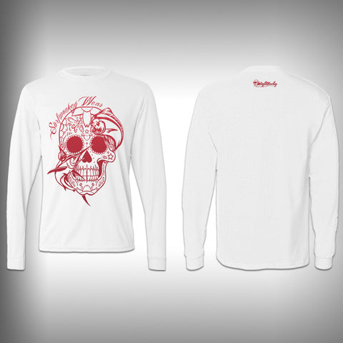 Red - Sugar Skull Mahi - Performance Shirt - Fishing Shirt - SurfmonkeyGear  - 1