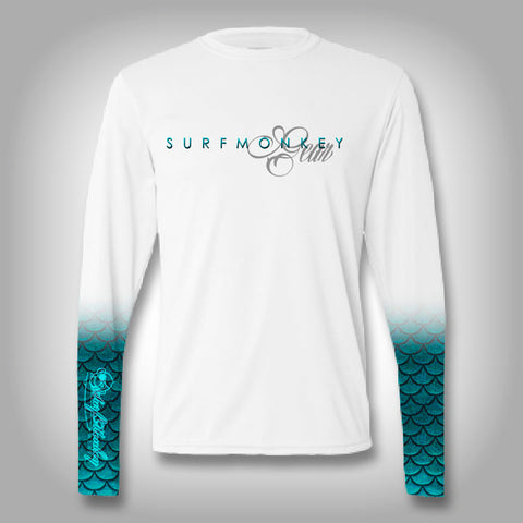 Womens Mermaid Scale Sleeve Shirt -  SurfMonkey - Womens Performance Shirts - Fishing Shirt