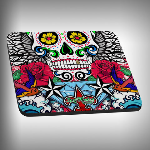 Sugar Skull Mouse Pad with Custom Graphics - SurfmonkeyGear