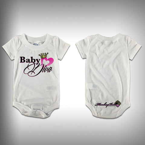 Monksies™ Custom Print One Piece Baby Body Suit (Onsies) - Diva - SurfmonkeyGear