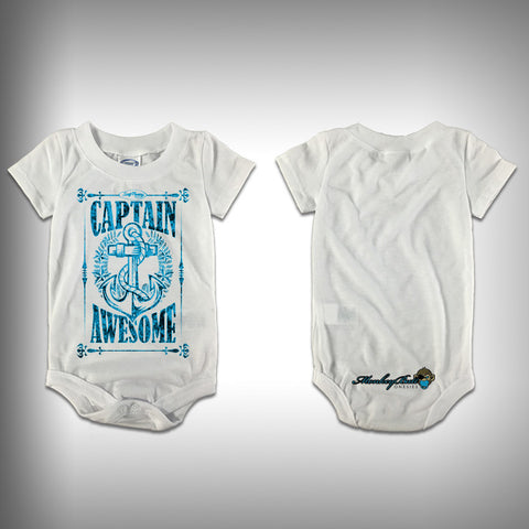 Monksies™ Custom Print One Piece Baby Body Suit (Onsies) - Captain Awesome - SurfmonkeyGear