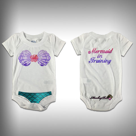 Monksies™ Custom Print One Piece Baby Body Suit (Onsies) - Mermaid in Training - SurfmonkeyGear