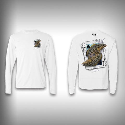 Queen of Spades Grouper - Poker - Solar Performance Long Sleeve Shirts - Fishing Shirt - SurfmonkeyGear