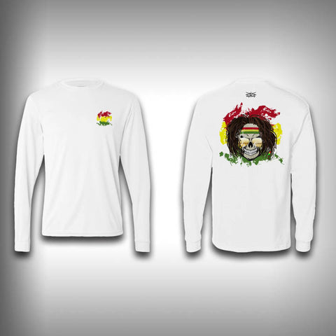 Rasta Skull - Solar Performance Long Sleeve Shirts - Fishing Shirt - SurfmonkeyGear