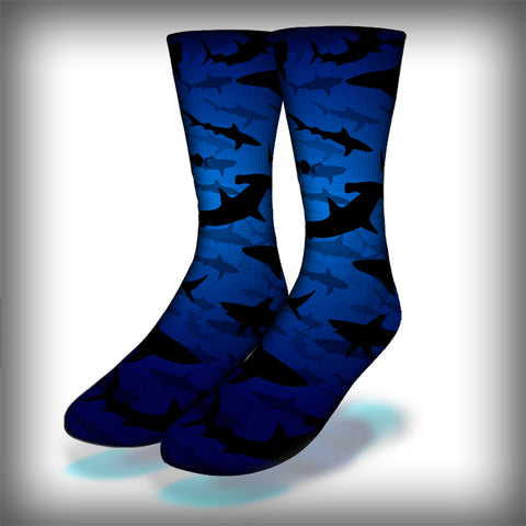Shark Frenzy Crew Socks Novelty Streetwear
