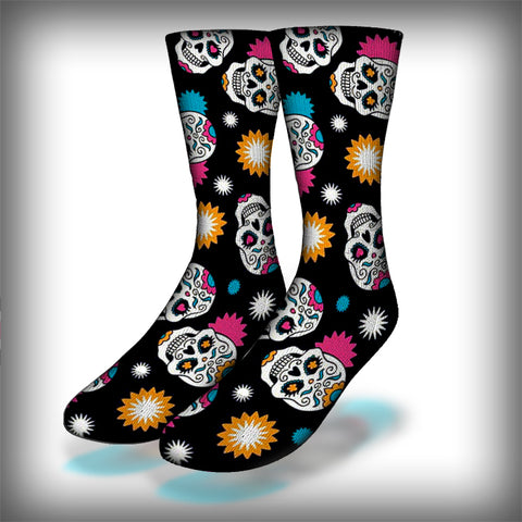 Sugar Skull Crew Socks Novelty Streetwear
