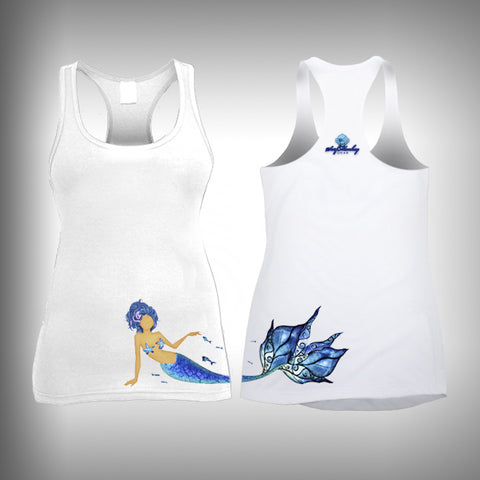 Blue Hair Mermaid - Womens Tank Top - SurfmonkeyGear  - 1