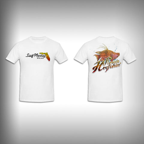 Unisex Short Sleeve Tshirt Custom Full Color Graphics - Hog Fishing - SurfmonkeyGear