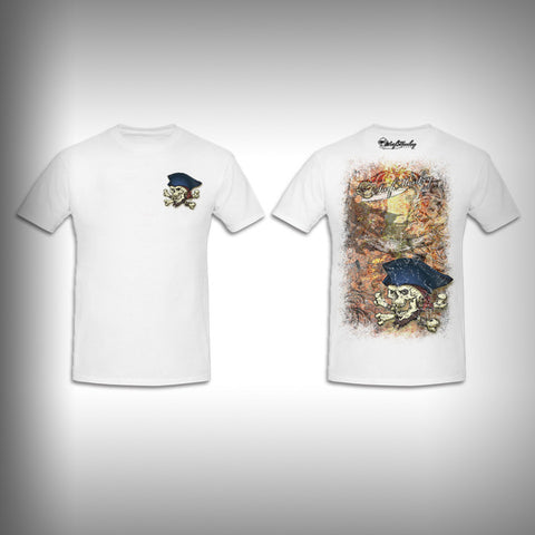 Unisex Short Sleeve Tshirt Custom Full Color Graphics - Grunge Pirate - SurfmonkeyGear