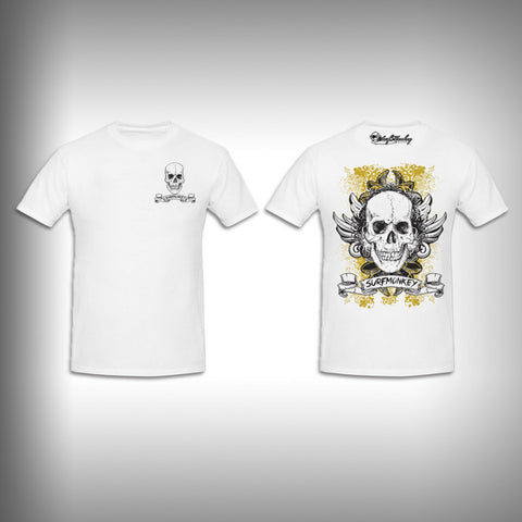 Unisex Short Sleeve Tshirt Custom Full Color Graphics - Grunge Skull - SurfmonkeyGear
