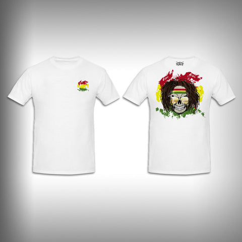 Unisex Short Sleeve Tshirt Custom Full Color Graphics - Rasta Skull - SurfmonkeyGear