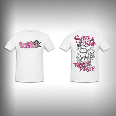 Unisex Short Sleeve Tshirt Custom Full Color Graphics - Save a Ship Ride a Pirate - SurfmonkeyGear