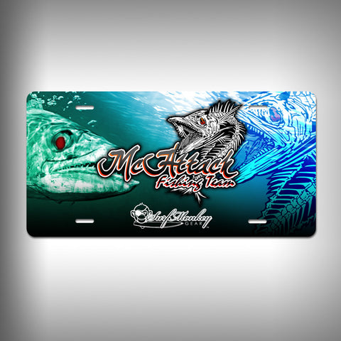 McAttack Fishing Team Custom License Plate with Custom Text and Graphics Aluminum Front Plate - SurfmonkeyGear