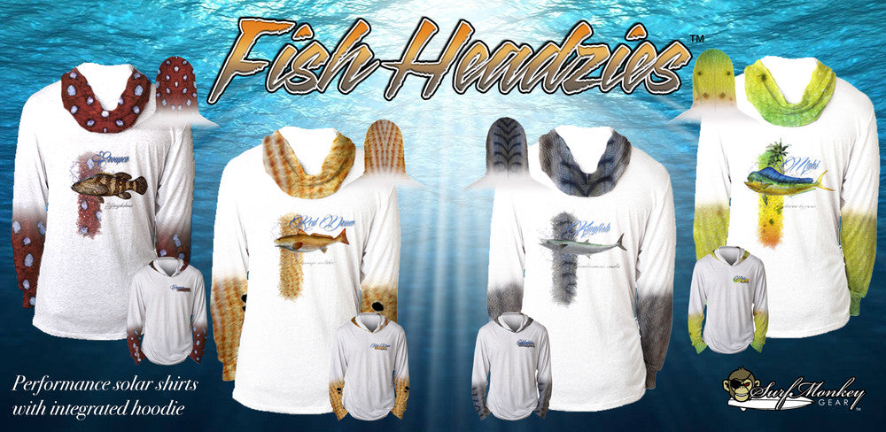 Unisex Fish Headzies™ Performance shirts with integrated Hood