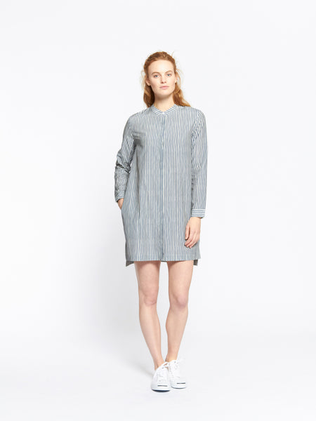Stand collar shirt dress