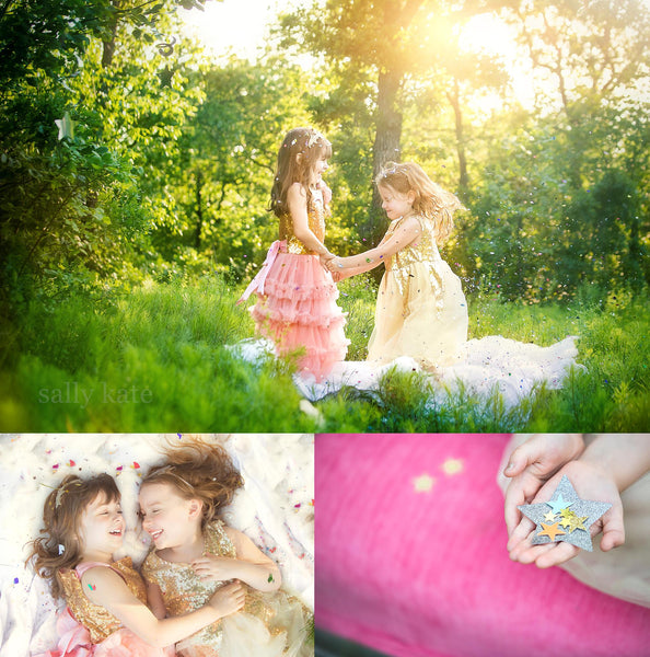 <alt>beautiful girls laughing and playing in the woods with stars and wearing sparkly dresses by miele moda</alt>