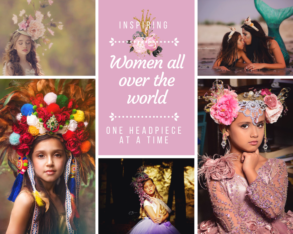 <alt>beautiful collection of headpieces showcasing the work of headwear designer Daniela Mallas of Honeydrops Designs</alt>