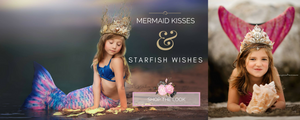 <alt>little girls dressed like mermaids wearing gold mermaid crown and tiara and mermaid tails</alt>