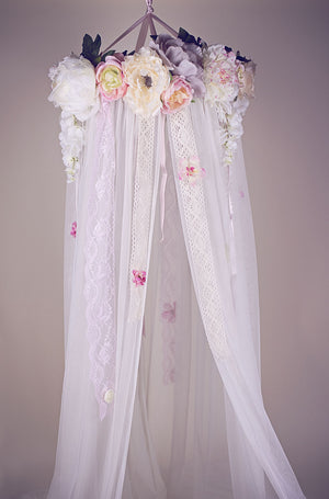 Dreamy Whimsical Floral Canopy Girls Room Decor - Honeydrops Designs