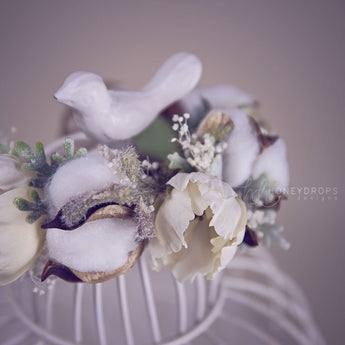 Natural Cotton and Baby's Breath Boho Flower Halo - Honeydrops Designs
