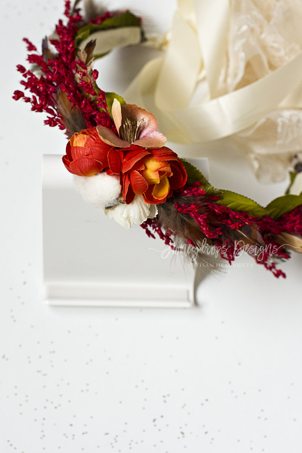 Berkley Rich Autumn Flower Halo Lace and Satin Ties - Honeydrops Designs