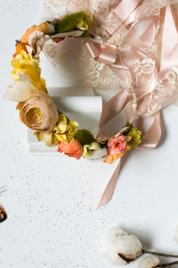 Chloe Rich Autumn Flower Halo Lace and Satin Ties - Honeydrops Designs