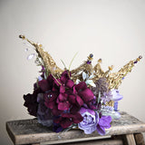 Liquid Gold and Lavender Dreams Couture Floral Princess Crown by Honeydrops Designs