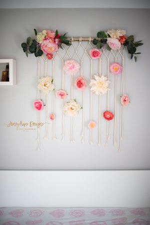 Macrame Flower Wall Hanging Baby Room Baby Girl Nursery Wall Decor - Honeydrops Designs