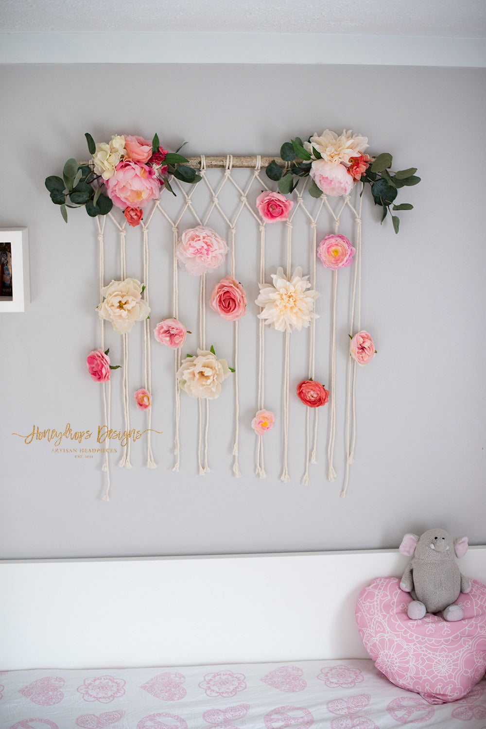 Macrame Flower Wall Hanging Baby Room Baby Girl Nursery Wall Decor – Honeydrops Designs