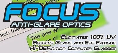 FOCUS ANTI-GLARE Computer Glasses Reduces Blue Light & Eye Fatigue Black Frame