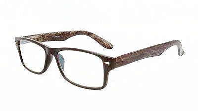 FOCUS ANTI-GLARE Reading Glasses Reduces Blue Light Wayfarer Wood look temples