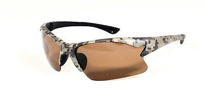 US Army Digital Camo Pattern Sport Rimless Blade Polarized Sunglasses
