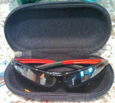 Sunglass case zipper travel with clip NEW - Large size - black nylon